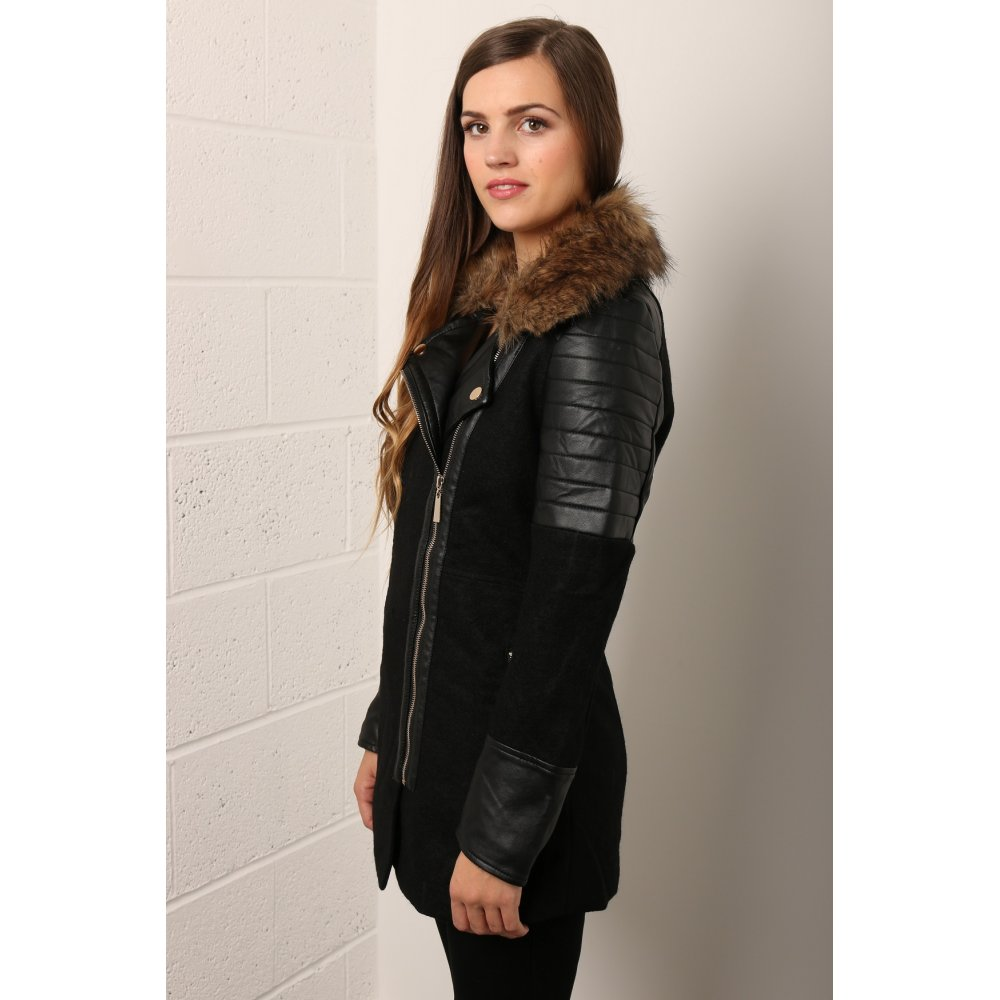 Coat With Leather Coat Nj