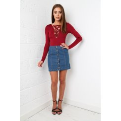 Maroon Lace Up Body