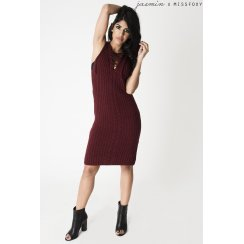 Maroon Sleeveless Jumper Dress with Lace Up Detail