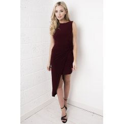 Maroon Slinky Asymmetric Dress