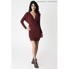 Maroon V-Neck Plunge Dress