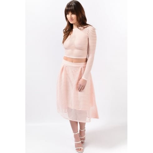 Mesh Stripe Midi Skirt in Nude