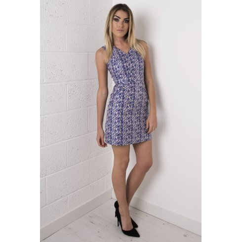 Metallic Print A-Line Dress in Blue