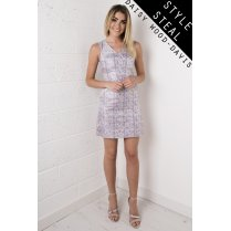 Metallic Print A-Line Dress in Multi