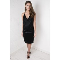 Metallic Strappy V-neck Dress in Black