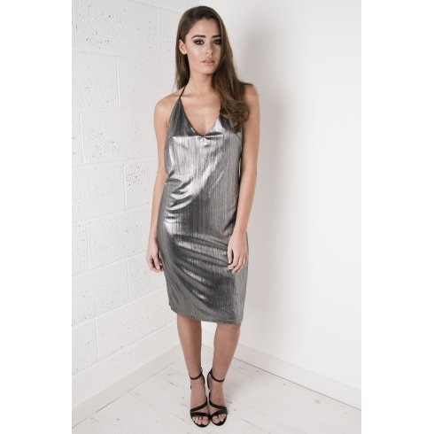 Metallic Strappy V-neck Dress in Silver