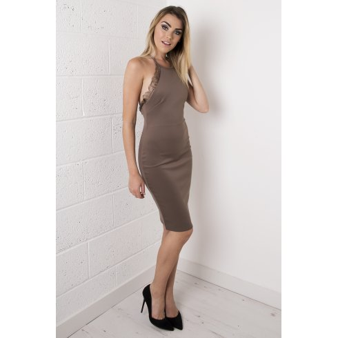 Mocha Bodycon Midi Dress with Lace Detailing