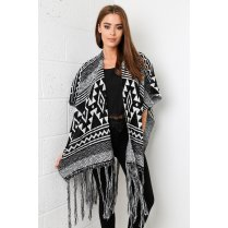 Monochrome Aztec Cape with Tassel Detail