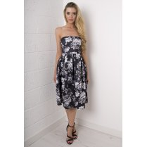 Monochrome Floral Strapless Mid-length Dress