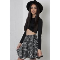 Monochrome Grid Pattern Skater Skirt