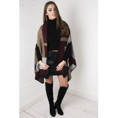 Multicoloured Cape in Maroon & Grey