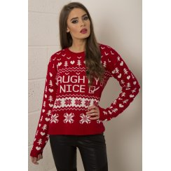 Naughty or Nice Christmas Jumper in Red