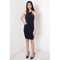 Navy Bodycon Midi Dress with Lace Detailing