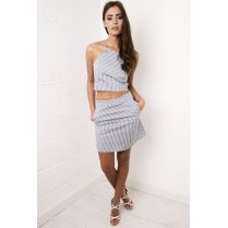 Navy Striped A-line Skirt