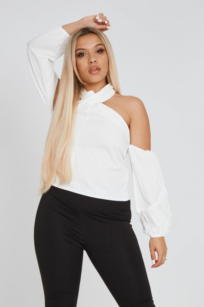 Neck Wrap Around with Cold Shoulder Sleeve