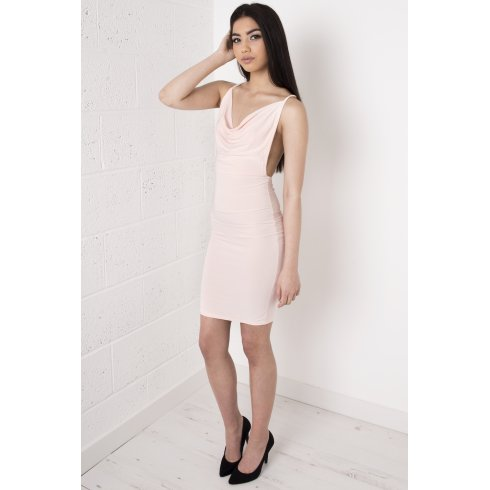 Nude Draped Cross Strapped Dress