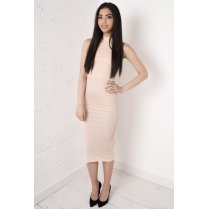 Nude Overlay Polo Midi Dress