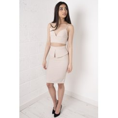 Nude Tailored Asymmetric Midi Skirt