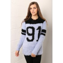 Number 91 Slogan Knit Jumper in Pastel Blue