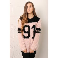 Number 91 Slogan Knit Jumper in Pastel Pink