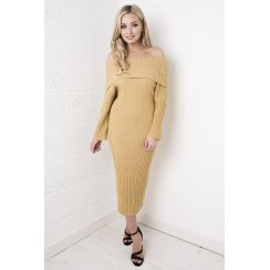 Off the Shoulder Jumper Dress in Gold