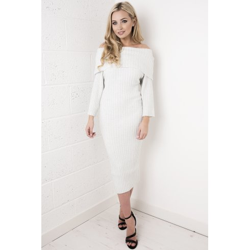 Off the Shoulder Jumper Dress in Silver