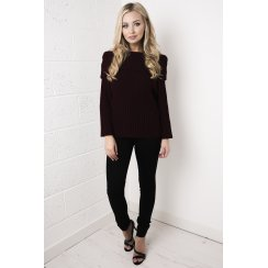 Off the Shoulder Knitted Jumper in Maroon