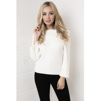 Off the Shoulder Knitted Jumper in White