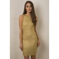 One Shoulder Bodycon Bandage Dress in Gold