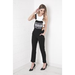 Parental Advisory Dungarees in Black