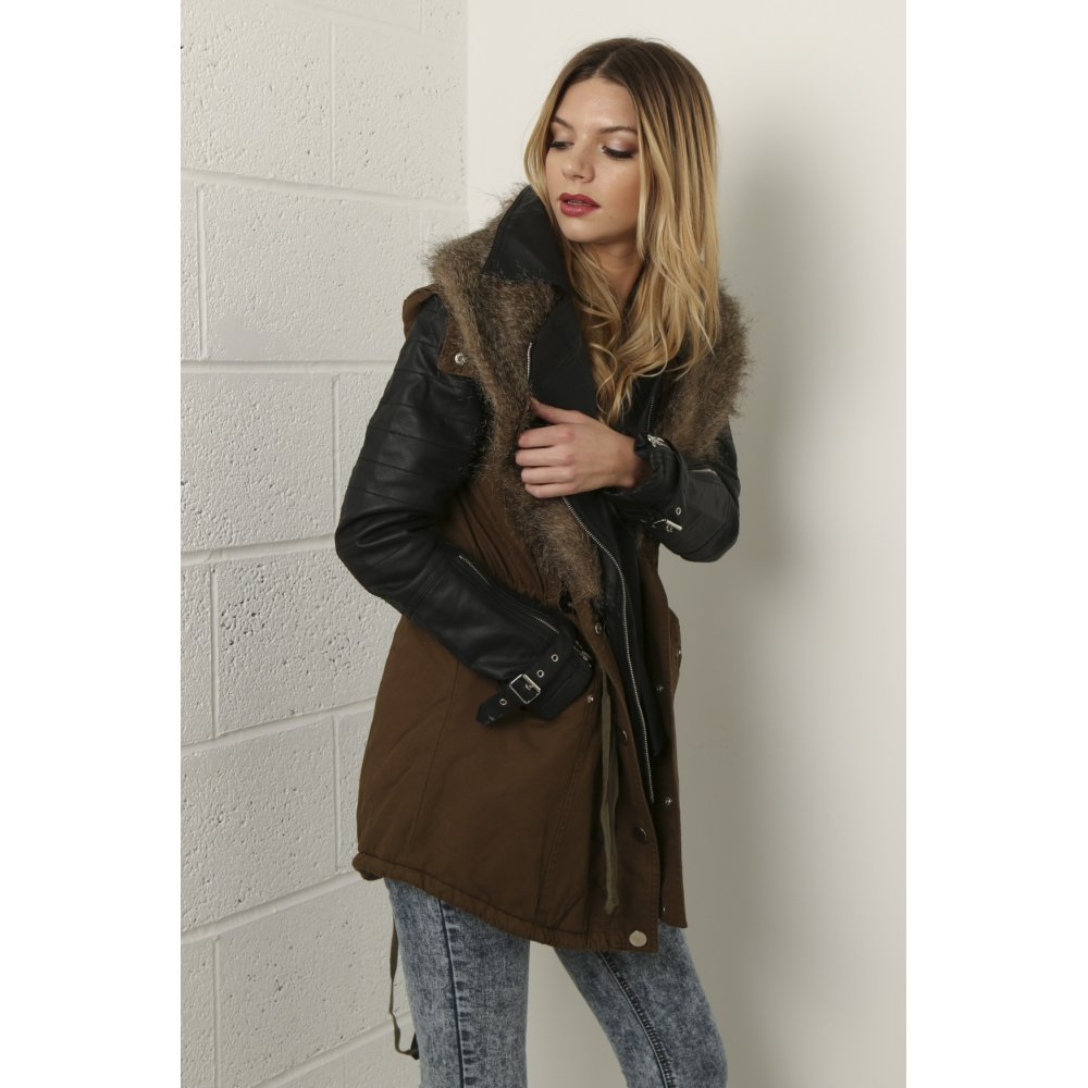 Coat with Faux Leather & Fur Detail