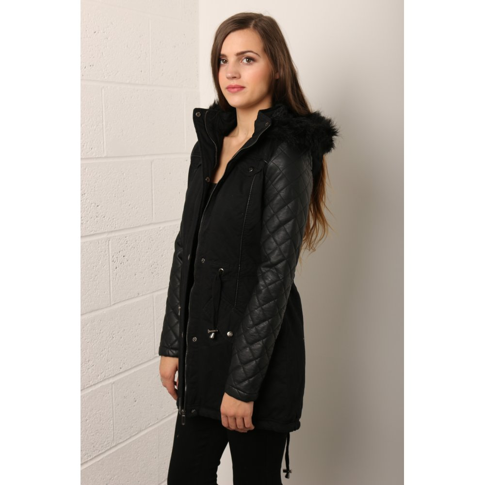b5712883a Parka Coat with PU Quilted Sleeves in Black