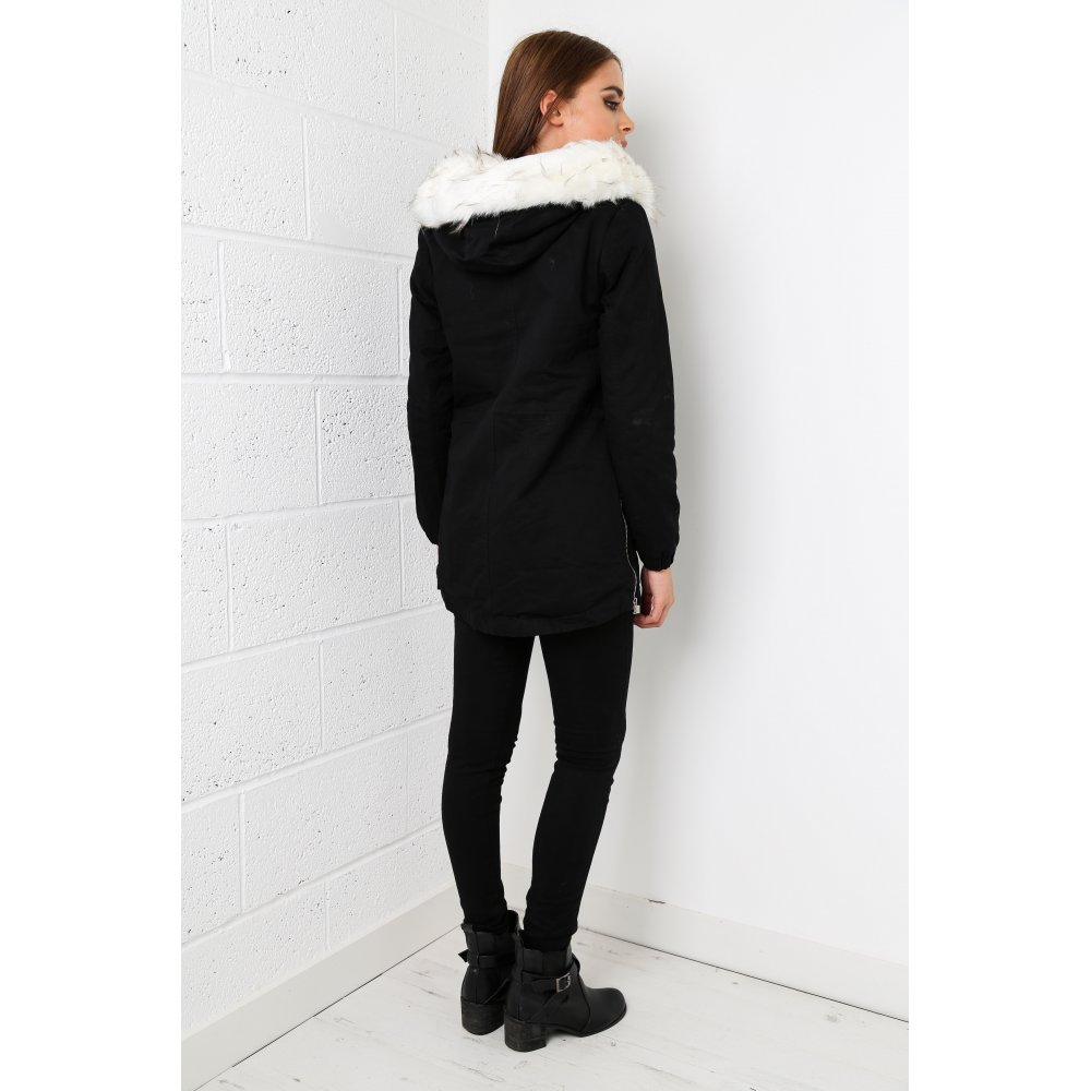 Parka Coat With White Fur In Black