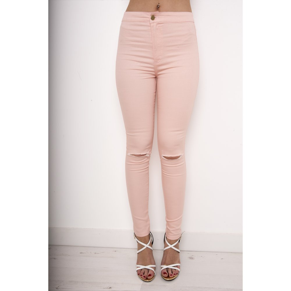 Pink Ripped Skinny Jeans
