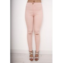 Pastel Pink Ripped Skinny Jeans