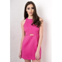 Pink Halterneck Cut Out Dress