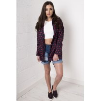 Polka Dot Rainmac Jacket in Navy & Red