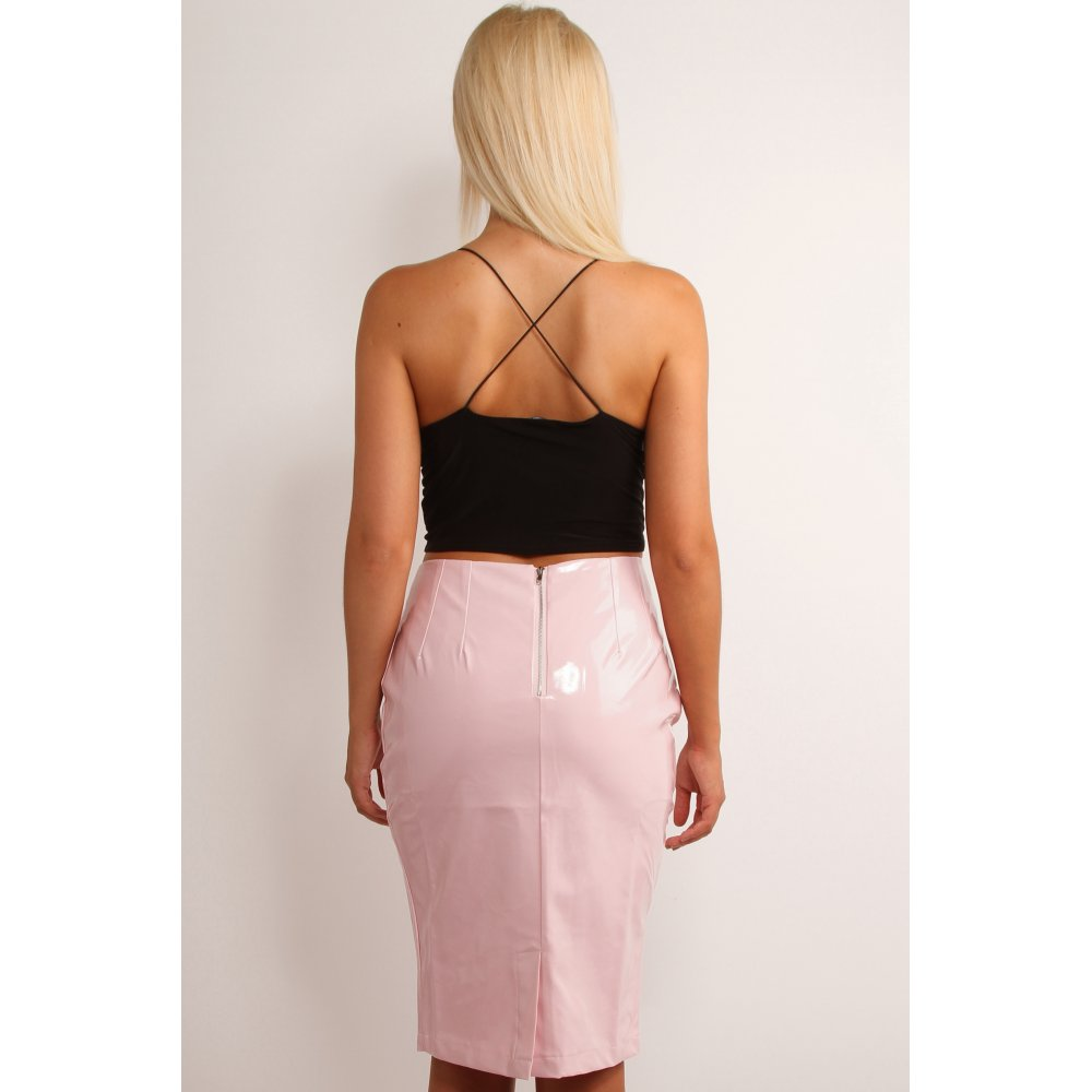 Black PVC mini-skirt from Lip Service - not sure which line this is from, but it's a real basic! Shaped waistband with back zipper to close. The PVC is the 'softer' lighter kind, not the plasticky sort.