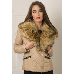 Quilted Jacket with Fur Detail in Beige