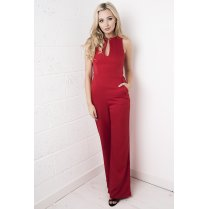Red Keyhole Flared Jumpsuit