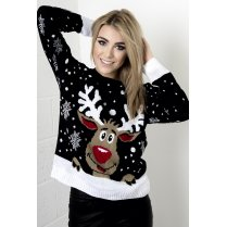 Reindeer & Snowflake Christmas Jumper in Black