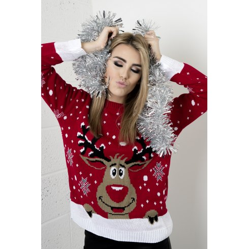 Reindeer & Snowflake Christmas Jumper in Red