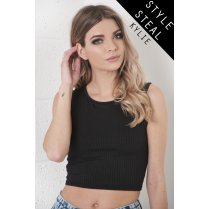 Ribbed Crop Top in Black