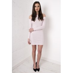 Ribbed Cut Out Shoulder Dress in Pink