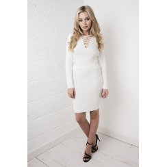 Ribbed Knitted Skirt in White