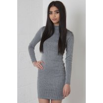 Ribbed Polo Neck Mini Dress in Grey