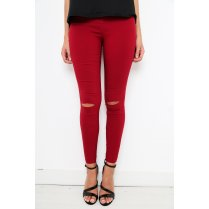 Ripped High Waisted Maroon Jeggings