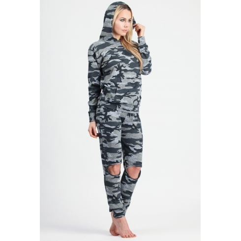 Ripped Knee Camouflage Loungewear Set