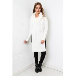 Roll Neck Jumper Dress in Cream