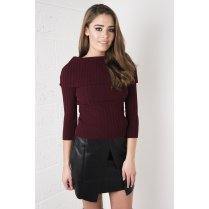Roll Neck Knitted Jumper in Maroon